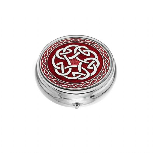 Large Pill Box Silver Plated Celtic Knot Red Brand New & Boxed
